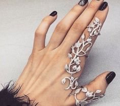 jewels ring jewelry knuckle ring linked ring full finger rings bling