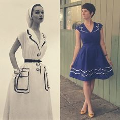 Our incredible #ModCloth design team took inspiration from the iconic 1952 Hermes trompe l'oiel collection (at left) to create this gorgeous dress.