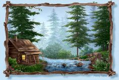 River By Artist Penny Parker Penny Parker, Cabins And Cottages, Country Art, Pattern Wallpaper, Beautiful World, Diy Art, Home Art, Wallpaper Backgrounds, Landscape Paintings