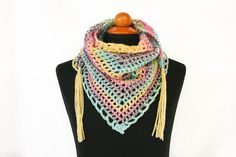 Crochet Triangle Scarf with Tassels by aureliaslittleroom on Etsy