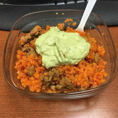 Mexican cauli-rice marinated pork and creamy avocado salsa for lunch #keto #ketogenic #ketogenicdiet #lowcarb #nocarbsforme - Inspirational and Motivational Ketogenic Diet Pins - Eat Keto Get Into Nutritional Ketosis - Discover LCHF to Prevent Diseases - Enjoy Low-Carb High-Fat Lifestyle For Better Health