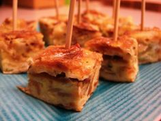 Spanish Tortilla (basically omelette with scalloped potatoes). Best bar food ever, but also makes a cute appetizer.