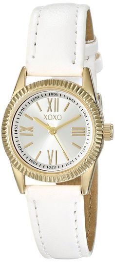 XOXO Womens XO3409 Gold Tone Case Analog Display Analog Quartz White Band Watch
