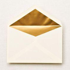 Gold Lined ecruwhite Envelope Liners [detail: elegant interior]