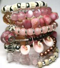 Beaded Wrap Bracelet  Memory Wire Bracelet by RavensNestScarfJewel, $32.00~everything pink.....is it not pretty! a must have list!