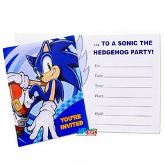 Partytoyz Inc. - Sonic The Hedgehog Pack of 8 Invitations, $3.99 (http://www.partytoyz.com/sonic-the-hedgehog-pack-of-8-invitations/)