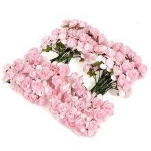 Linda 144 Pcs Mini pouco colorido botão de rosa Artificial flor de papel Bouquet cartão Scrapbooking Wedding Decor DIY papel artesanal(China…