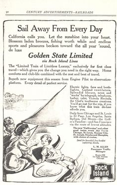 vintage advertisement for the Golden State Limited by Rock Island Line illustrated by Rose O'Neill.