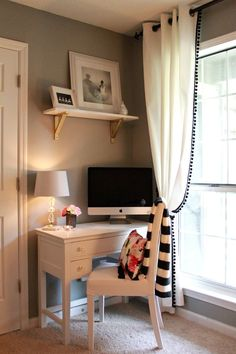 pom pom trim curtains The Dapper Bun: A Cute Office Nook