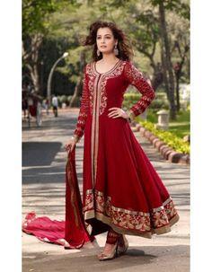 Diya Mirza Glamorous Maroon Salwar Kameez Rs.4,795