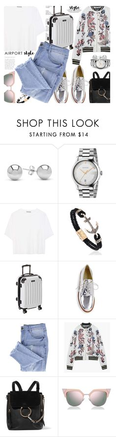 """Airport Style..."" by unamiradaatuarmario ❤ liked on Polyvore featuring Jewelonfire, Gucci, Vince, Kenneth Cole Reaction, Stuart Weitzman, Essie, Chloé, Fendi and airportstyle"