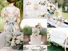 There are so many delightful details to love in this wedding inspiration board but one of the motifs that I adore most are the ribbons. #dazzlebyandrea #weddinginspiration #weddingdecor