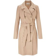 Miss Selfridge Leather Trench Coat ($95) ❤ liked on Polyvore featuring outerwear, coats, jackets, nude, leather coat, miss selfridge coats, genuine leather coat, real leather coats and miss selfridge