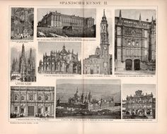 1898 Spanish Architecture and Art Illustration by Craftissimo
