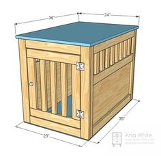 DIY dog crate from Ana White! Large size, will accommodate Border Collie nicely. Do you think we could figure out how to make comfortable for a Great Dane? Dog Kennel End Table, Diy Dog Kennel, Pet Kennels, Kennel Ideas, Easy Woodworking Projects, Woodworking Plans, Wood Projects, Popular Woodworking, Woodworking Furniture