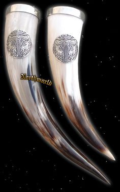 Viking Drinking Horns with Tin Edge and Irminsul Ornament
