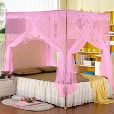 Pink Four Corner Bed Canopy Mosquito Net Bed Netting For California King Size