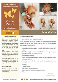 084 Baby monkey Amigurumi Crochet Pattern PDF by LittleOwlsHut