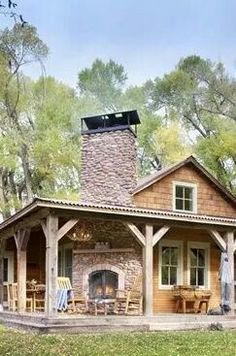 Don't know where I found this but I LOVE the two sided fireplace. LOVE the wrap around porch.