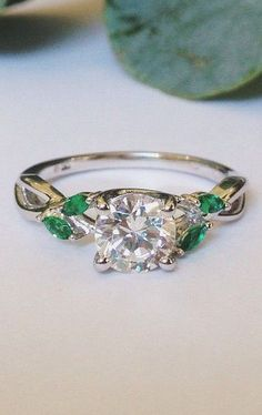 Willow Ring With Lab Emerald Accents