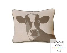 happy cow rustic modern needlepoint kit - diy - contemporary  could we do a BEAGLE?