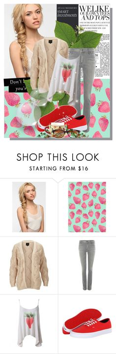 """Strawberry"" by not-by-sight ❤ liked on Polyvore featuring Eva NYC, SELECTED, Citizens of Humanity, Wildfox and Vans"