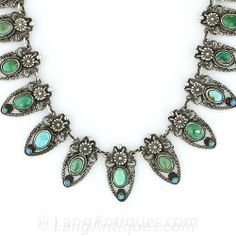 Antique Austro-Hungarian Silver and Turquoise Fringe Necklace - 90-1-5966 - Lang Antiques