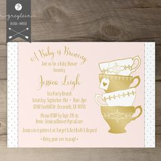 A Baby is Brewing Tea Party invitations / teacups / Gold Pink Black White / Stripes and polka dots/ printable Bachelorette Party Invitations, Gold Invitations, Digital Invitations, Bridal Shower Invitations, Anniversary Invitations, Invites, Diy Shower, Shower Ideas, Tea Party Bridal Shower