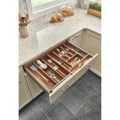 Rev-A-Shelf Short Walnut Divider for Drawer Organizers, Dark Brown Wood Kitchen Tops, New Kitchen, Kitchen Decor, Kitchen Design, Kitchen Ideas, Kitchen Island, Kitchen Appliances, Kitchen Drawer Inserts, Kitchen Drawers