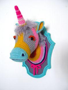 Crochet Color block Unicorn head in a turquoise by ManafkaMina