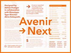 Fonts.com Avenir Next type specimen layout avenir fonts.com font Graphic Design Fonts, Branding Design, Brand Guide, Booklet Design, Type Posters, Typography Fonts, Type Design, Font Family, Visual Identity