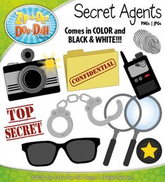 You will receive 11 clipart graphics that were hand drawn by myself  1 Spy Camera with Flash, 1 Spy Camera without Flash, 1 Confidential Folder, 1 Spy Radio, 1 Spy Glasses, 1 Finger Print, 1 Spy Badge, 1 Handcuffs, and 1 Top Secret Stamp. I also included all images in black in white!