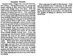 "A recipe for rabbit soup, published in the California Farmer and Journal of Useful Sciences newspaper (Sacramento, California), 28 June 1855. Read more on the GenealogyBank blog: ""Holiday Genealogy Gift Ideas Pt. 2: Old Fashioned Recipe Book."" http://blog.genealogybank.com/holiday-genealogy-gift-ideas-pt-2-old-fashioned-recipe-book.html"