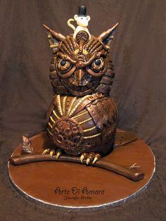 from Cake Wrecks - Steampunk owl cake - LOVE this Pretty Cakes, Beautiful Cakes, Amazing Cakes, Cake Wrecks, Cupcake Cookies, Cupcakes, Gothic Cake, Owl Cakes, Ladybug Cakes