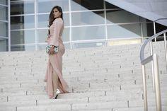 Stuart Weitzman Beaded Clutch, Versace Bersace Silver Gold Heels, Just Enaj Blush La Antoinette Dress