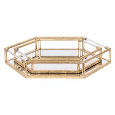 Set of 2 Hexagonal Mirror Trays, Gold - Barker & Stonehouse