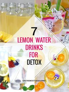 7 Lemon Drinks for Detox - Green Smoothie Gourmet - - Seven lemon drink recipes in a variety of flavors and forms, including wellness shots that boost hydration and metabolism, shrink the belly, and more. Detox Cleanse Drink, Detox Drinks, Liver Detox, High Protein Snacks, Water Recipes, Detox Recipes, Drink Recipes, Smoothie Recipes, Summertime Drinks