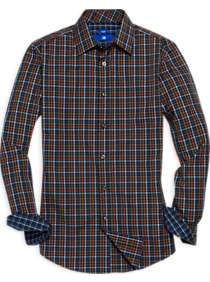 Egara Orange & Olive Check Sport Shirt