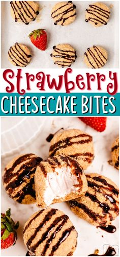 Easy Strawberry Cheesecake Bites made with fresh strawberries & cream cheese; rolled into bite-sized morsels and coated with graham cracker crumbs. Tasty strawberry cheesecake balls drizzled with hot fudge for the perfect party treat! #cheesecake #strawberry #dessert #nobake #easyrecipe from BUTTER WITH A SIDE OF BREAD Recipes Using Fruit, Best Dessert Recipes, Dessert Ideas, Quick Easy Desserts, Fun Desserts, Delicious Desserts, Strawberry Cheesecake Bites, Strawberry Desserts, Easy Homemade Recipes