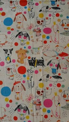 PUPPY DOGS Fabric by the Yard Fat Quarter Dog Fabric Puppy