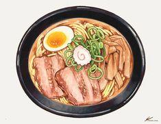 Ramen Recipes, Real Food Recipes, Yummy Food, Cute Food Art, Food Cartoon, Watercolor Food, Food Painting, Food Drawing, Food Illustrations