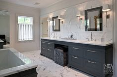 MDD Architects - bathrooms - master bath, master bath ideas, charcoal gray double vanity, charcoal gray bath vanity, charcoal gray washstand... #Home #Decor   #Bath - http://www.IrvineHomeBlog.com/HomeDecor/  ༺༺  ℭƘ ༻༻      -  Christina Khandan - Irvine California Your Home Lease Specialist