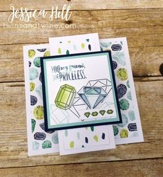 you're priceless, stampin up, diamonds, gems, naturally eclectic DSP, night of navy, lemon lime twist, pool party, soft sky, whisper white, birthday, friendship, fancy fold