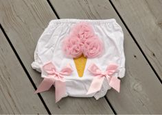 Adorable Ice Cream Cone Bloomers with Pink Satin Bows Girl Diaper Cover on Etsy, $13.99