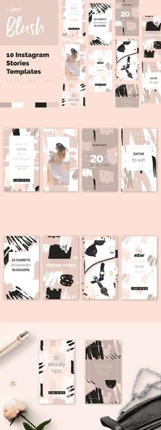 Blush Crush Patterns & Templates by Youandigraphics on Creative Market Design Inspiration Social Media Branding, Social Media Design, Web Design, Layout Design, Portfolio Design Grafico, Bussiness Card, Instagram Design, Design Graphique, Instagram Story Template