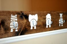 Cute variation of all the simple coat rack builds going around. First stencil a cute animal behind or elephant face, then add coat hook to be the tail or elephant trunk. easy kids room diy