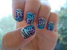 Trendy Blue Purple Glitter Zebra And Cheetah Animal Print Nail Art Zebra Print Nails, Cheetah Nails, Beautiful Nail Designs, Cute Nail Designs, Cute Nails, Pretty Nails, Hair And Nails, My Nails, Tie Dye Nails