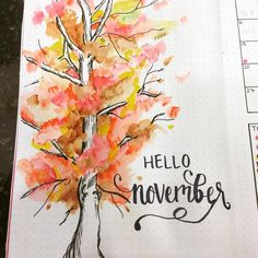 A sneak peak at my fall monthly spread because this is my favorite page in my bullet journal right now! I think more watercolors are definitely in my future.