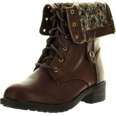 Refresh Womens Dason-03 Cuff Military Low Heel Lace Up Mid-Calf Riding... ($41) ❤ liked on Polyvore featuring shoes, boots, brown boots, wedge boots, brown wedge boots, brown mid calf boots and brown flats
