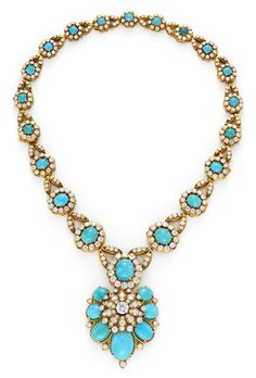 Van Cleef & Arpels. A Gold, Turquoise and Diamond Necklace, by Van Cleef & Arpels, c.1965. Available at FD. www.fd-inspired.com